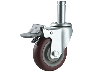 Medium Duty PU Caster Round Stem with Brake